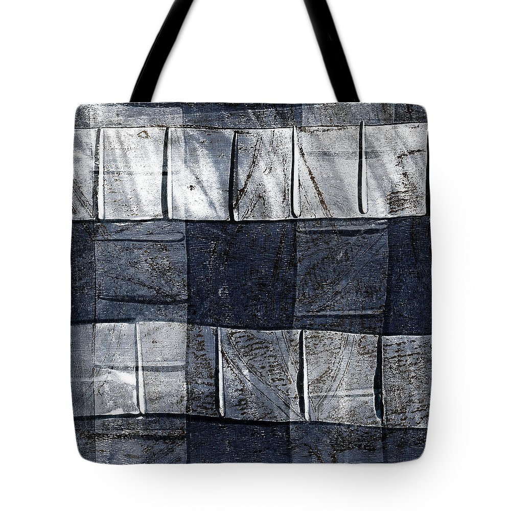 Blue Tote Bag featuring the mixed media Indigo Squares 1 Of 5 by Carol Leigh