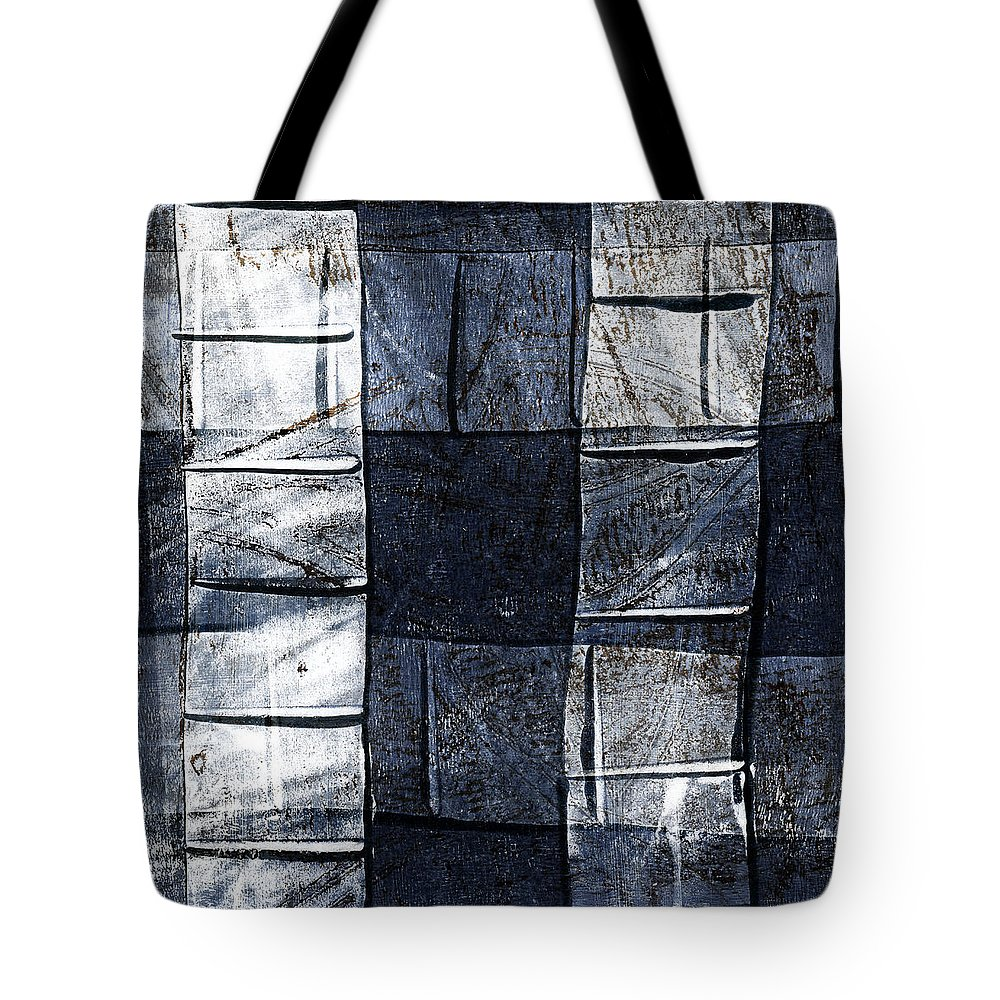 Blue Tote Bag featuring the mixed media Indigo Squares 2 Of 5 by Carol Leigh