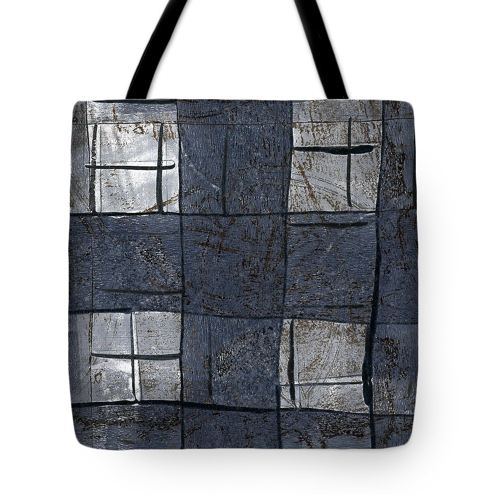 Blue Tote Bag featuring the mixed media Indigo Squares 5 Of 5 by Carol Leigh
