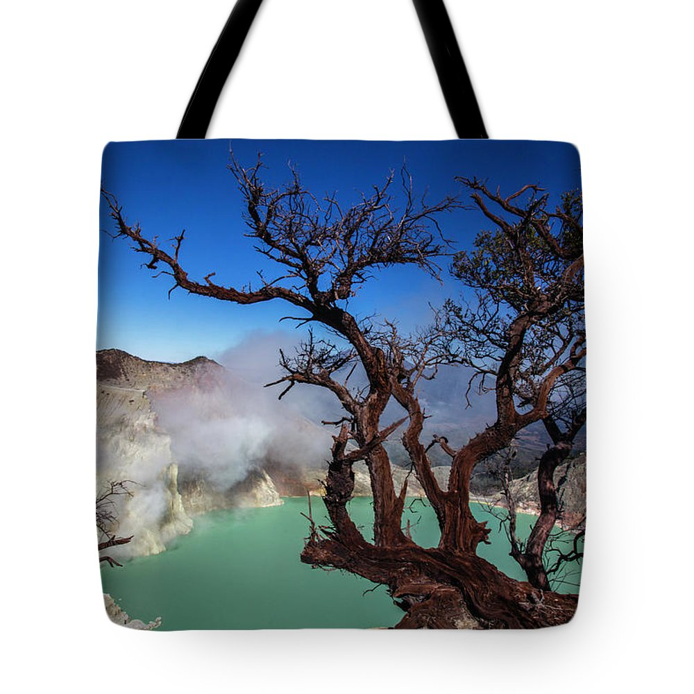 Crater Lake Tote Bag featuring the photograph Indonesia, Java, Kawah Ijen by Andreas Kunz