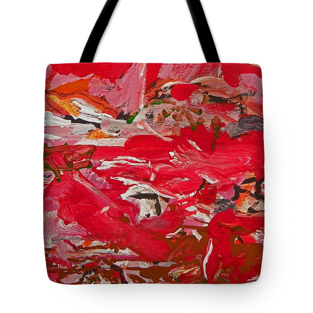 Abstract Tote Bag featuring the painting Infancy Of Life On Mars by Judith Redman