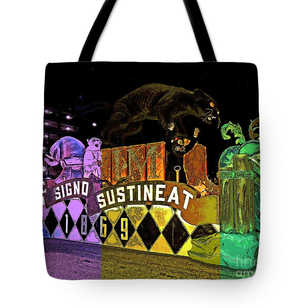 Digital Art Tote Bag featuring the photograph Infant Mystics Emblem In Mardi Gras Colors by Marian Bell