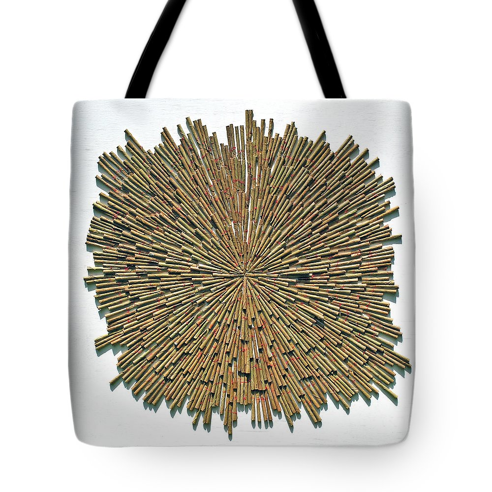Cigarette Tote Bag featuring the mixed media Inhale Exhale by Sumit Mehndiratta
