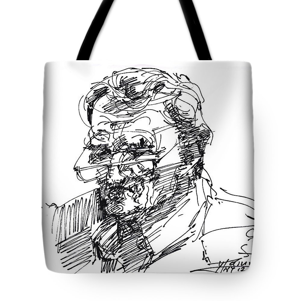 Sketch Tote Bag featuring the drawing Ink Sketch by Ylli Haruni