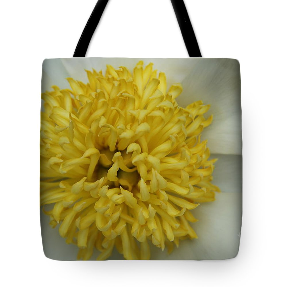 Peony Tote Bag featuring the photograph Inner Section Of A White Peony by Christiane Schulze Art And Photography