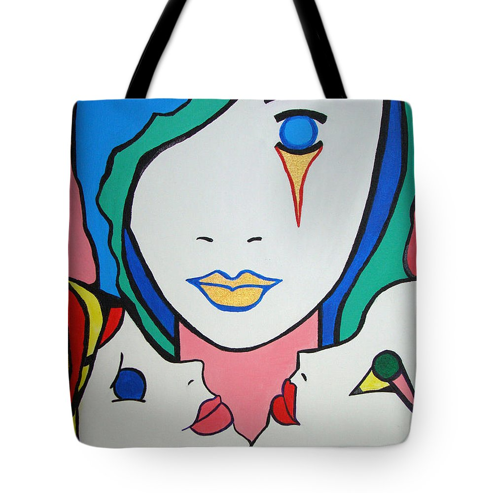 Pop-art Tote Bag featuring the painting Innocence by Silvana Abel