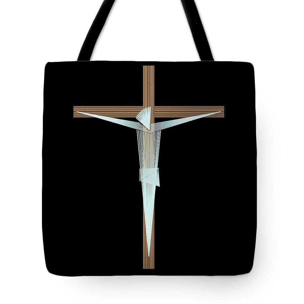 Crucifix Tote Bag featuring the digital art Inri by Carlos Vieira