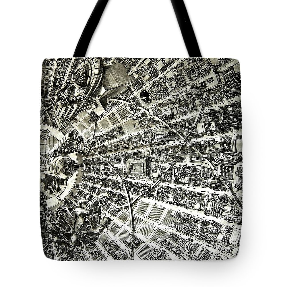 Cityscape Tote Bag featuring the drawing Inside Orbital City by Murphy Elliott