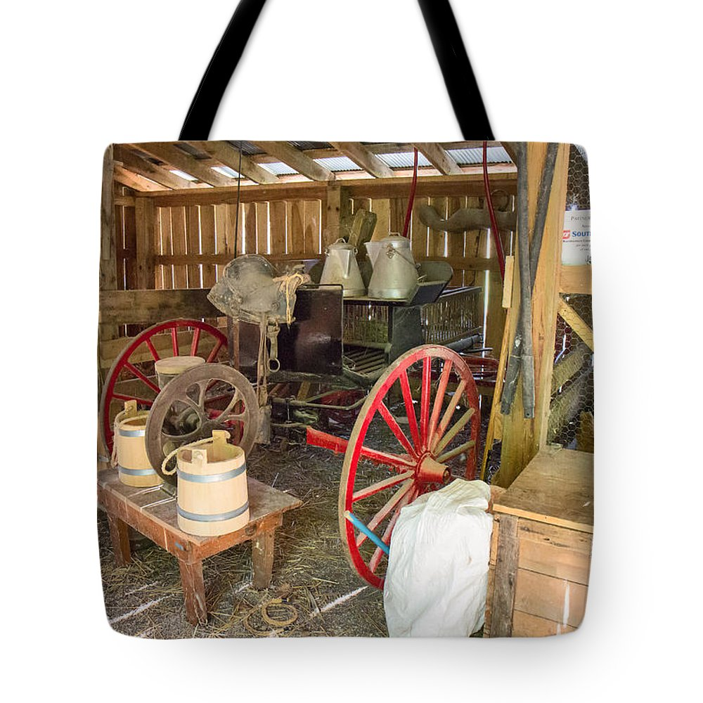Jackson's Mill Tote Bag featuring the photograph Inside The Barn by Mary Almond