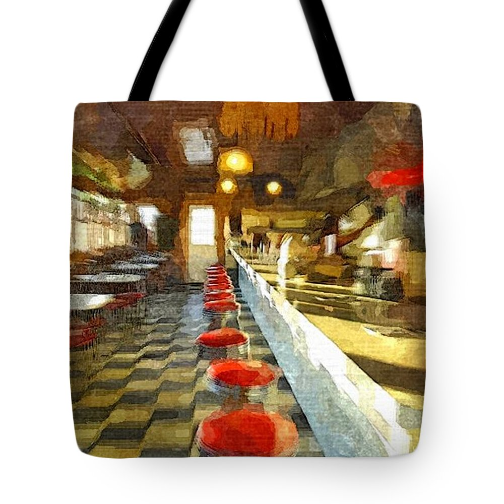 Interior Tote Bag featuring the painting Inside The Cafe by Rachel Niedermayer