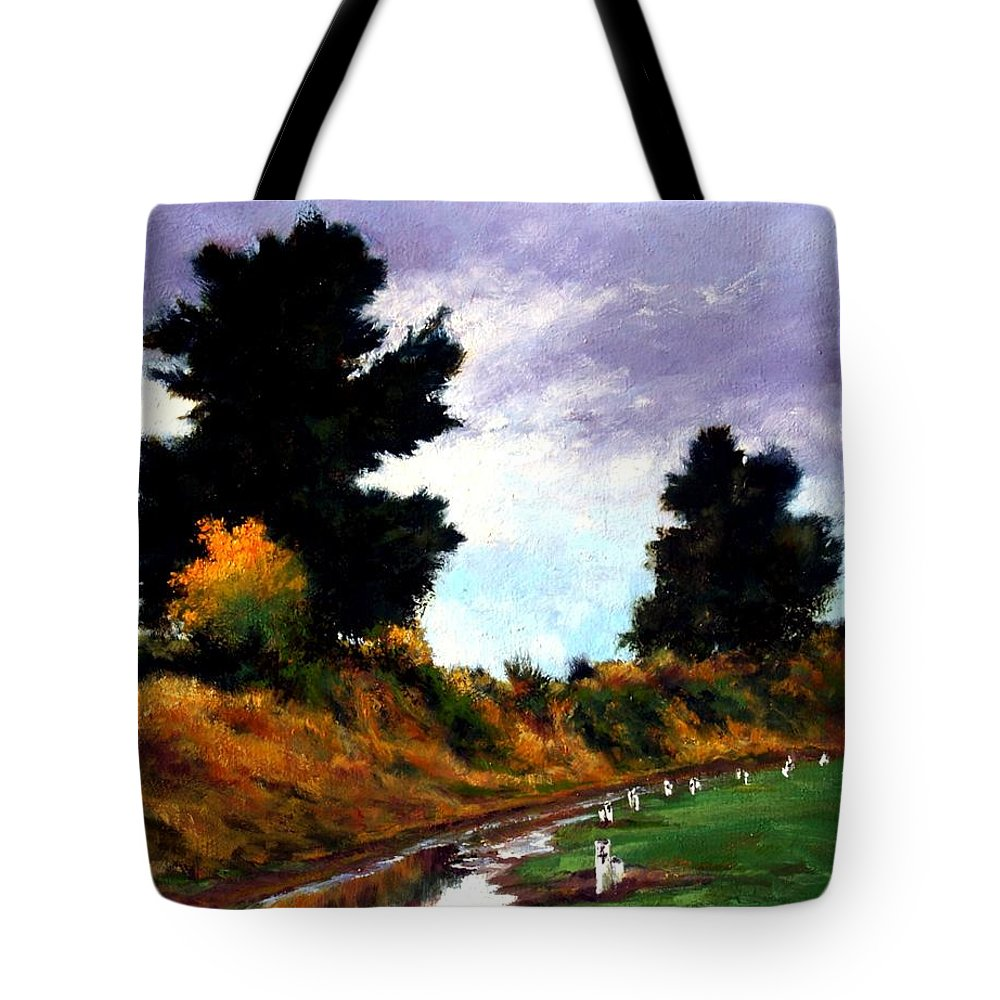 Landscape Tote Bag featuring the painting Inside The Dike by Jim Gola