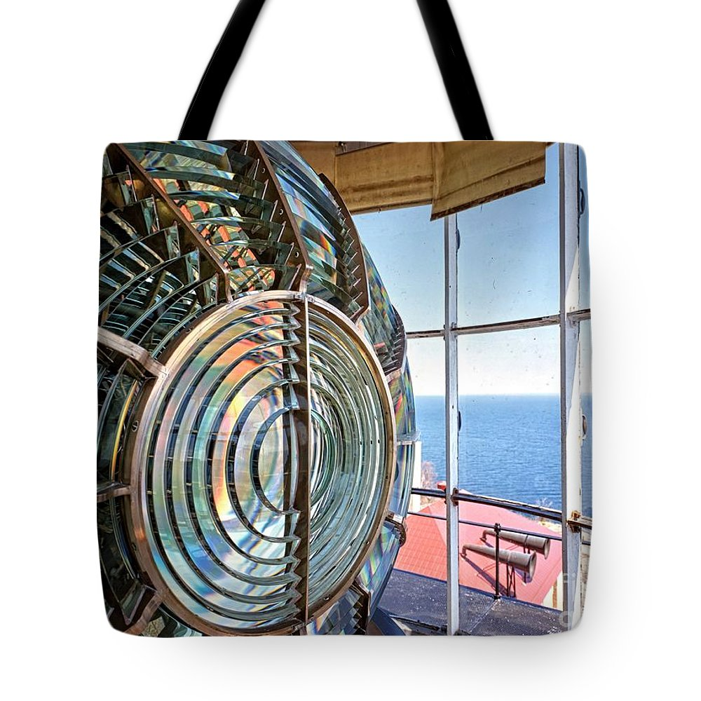 Fresnel Tote Bag featuring the photograph Inside The Lighthouse by Pd
