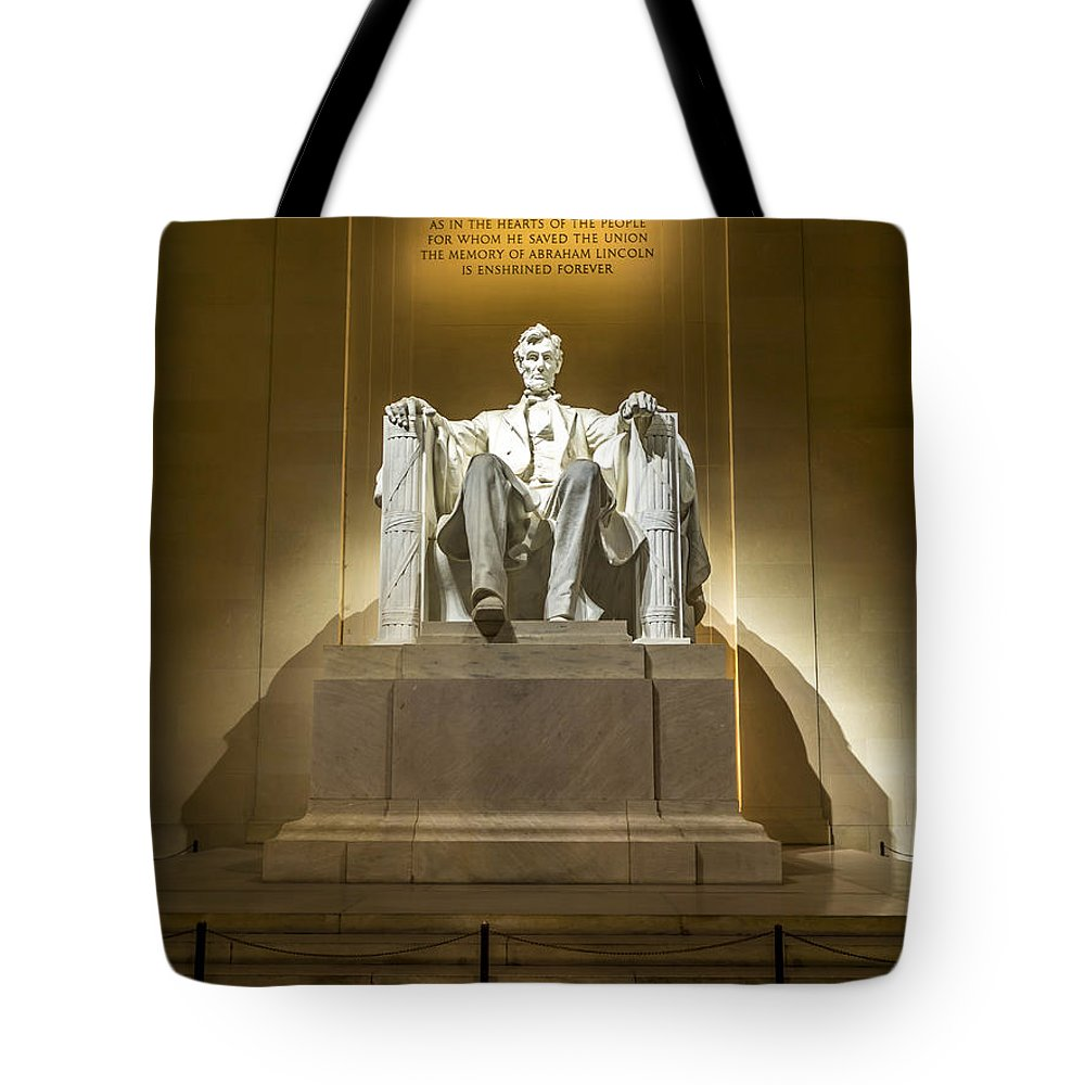 Usa Tote Bag featuring the photograph Inside The Lincoln Memorial by David Morefield