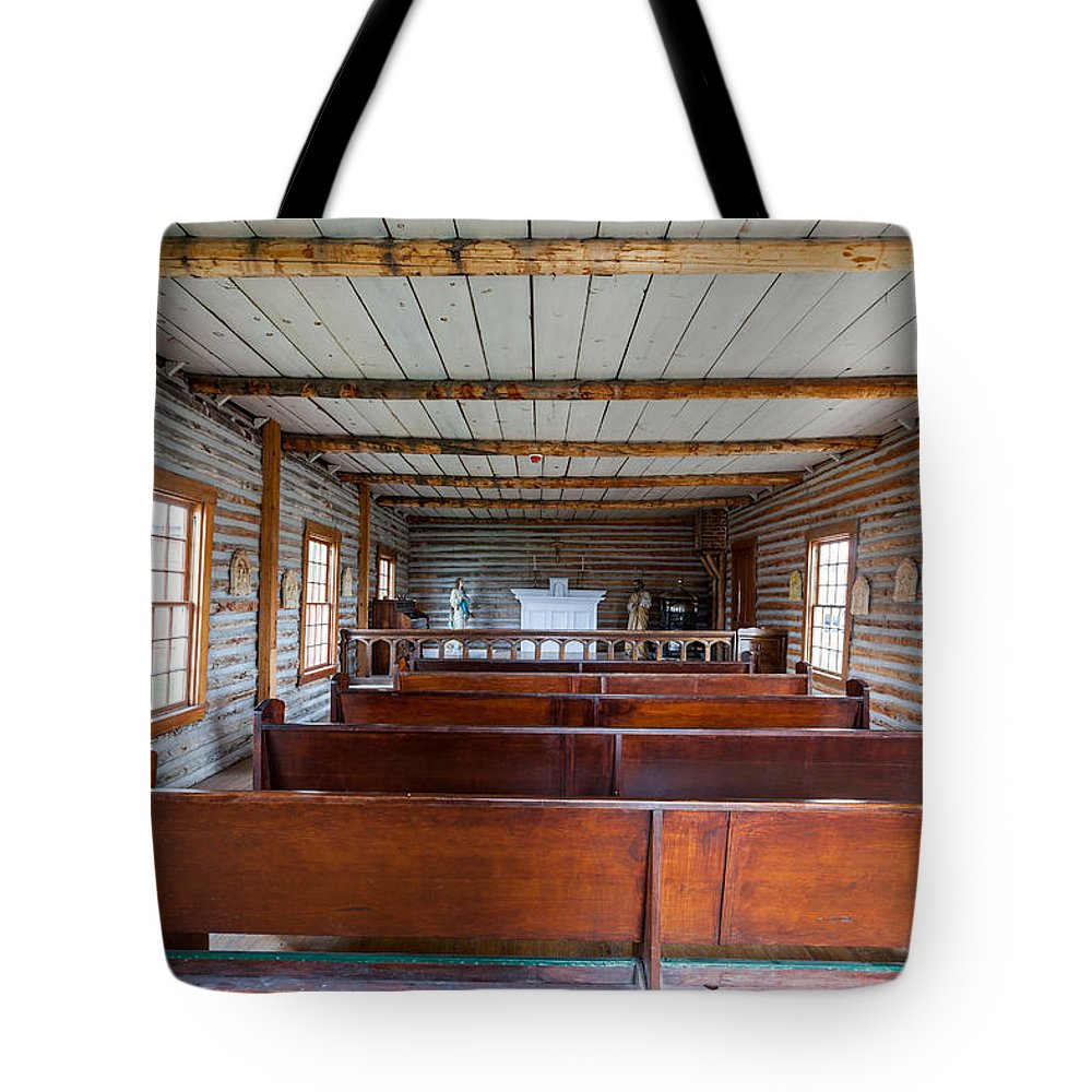 Church Tote Bag featuring the photograph Inside The Little Church - World Mining Museum by Fran Riley