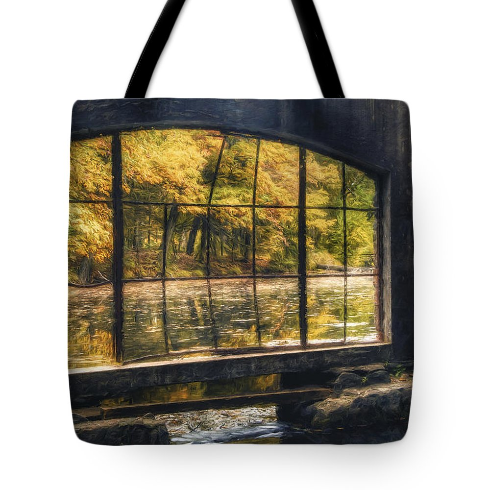 Window Tote Bag featuring the photograph Inside the Old Spring House by Scott Norris