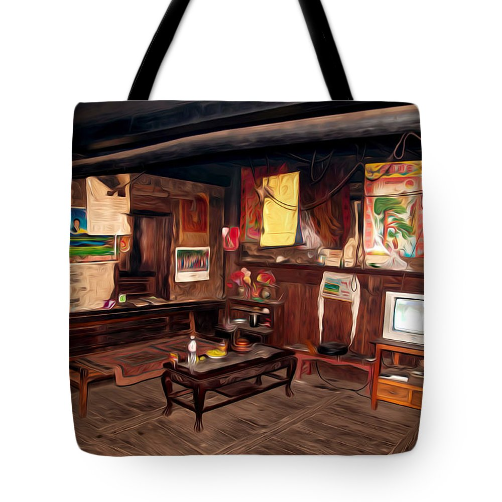 Inside Tibetan House Tote Bag featuring the painting Inside Tibetan House by Jeelan Clark