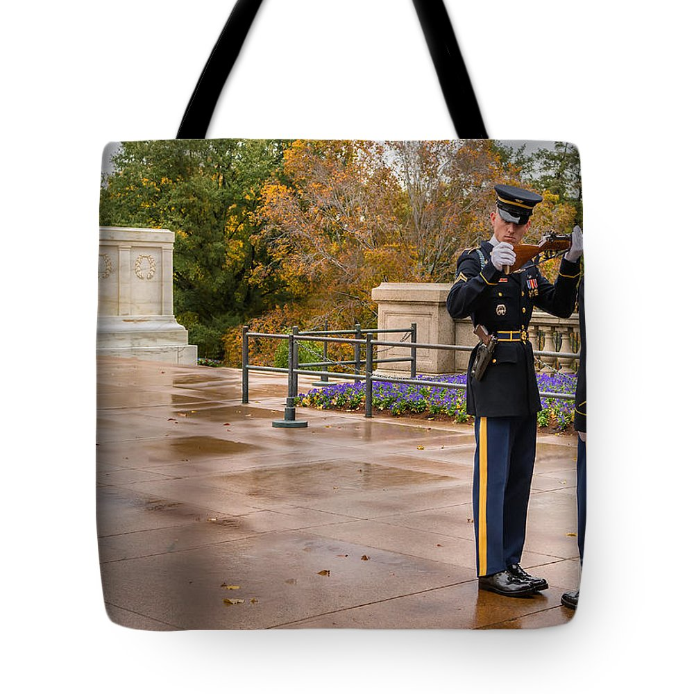 Arlington Cemetery Tote Bag featuring the photograph Inspection by Jerry Fornarotto