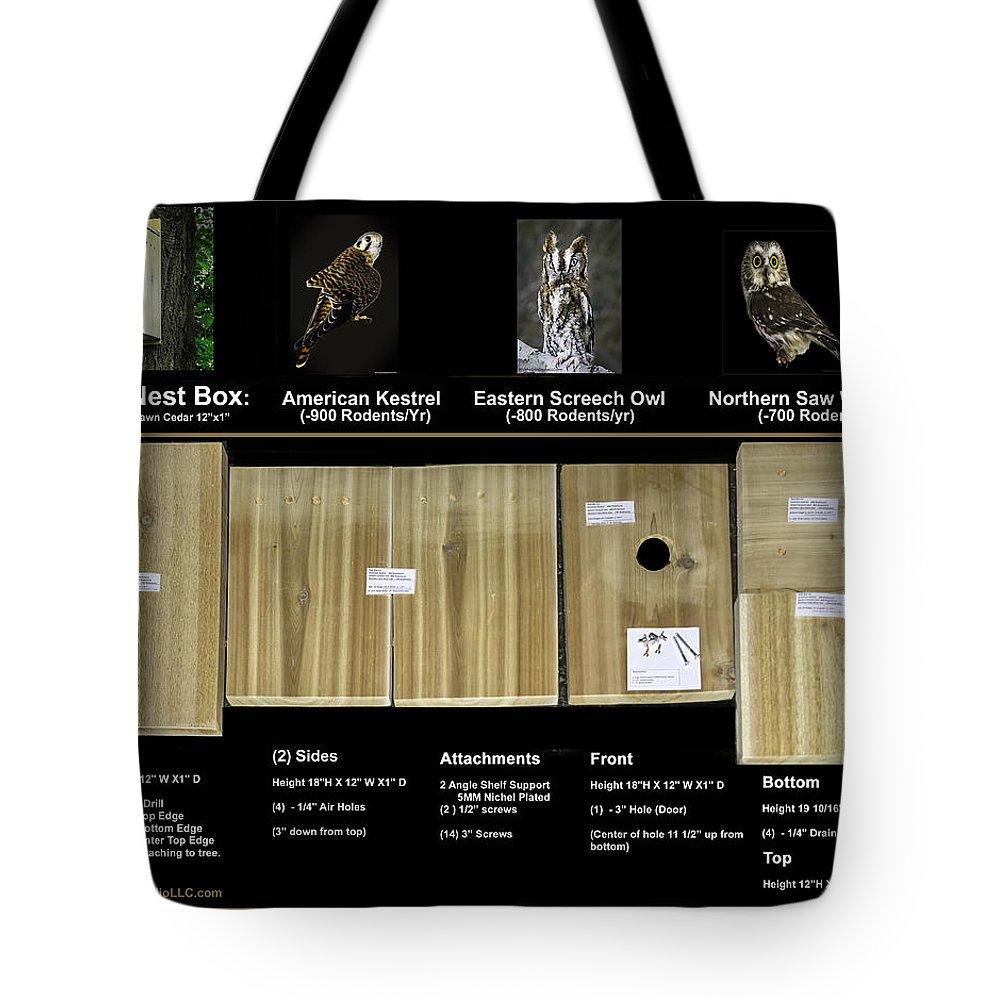 Mclanegoetzstudiollc.com Tote Bag featuring the photograph Instructions Cedar Nest Box For Kestrel And Owl by LeeAnn McLaneGoetz McLaneGoetzStudioLLCcom
