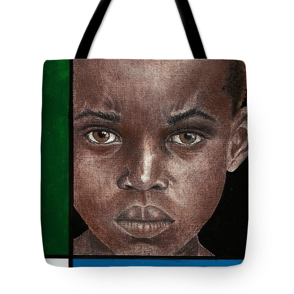 African American Artwork Tote Bag featuring the mixed media Intense by Edith Peterson-Watson