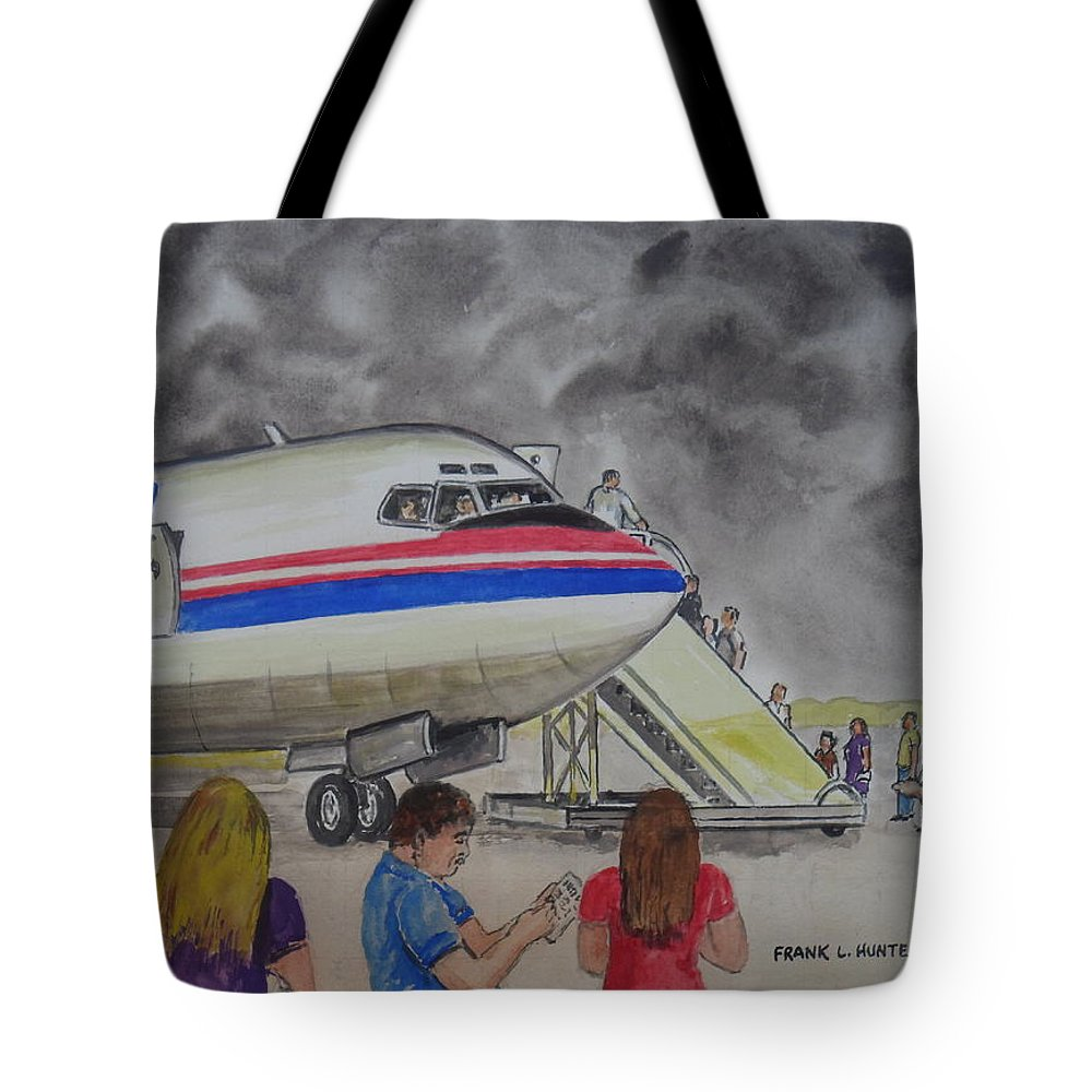 Interam Airlines Boeing 707 Clearwater Florida Prescot Scotland Bristol England 1982 Stormy Skies Tote Bag featuring the painting Interam Airlines Flight One Clearwater Florida To Bristol England by Frank Hunter