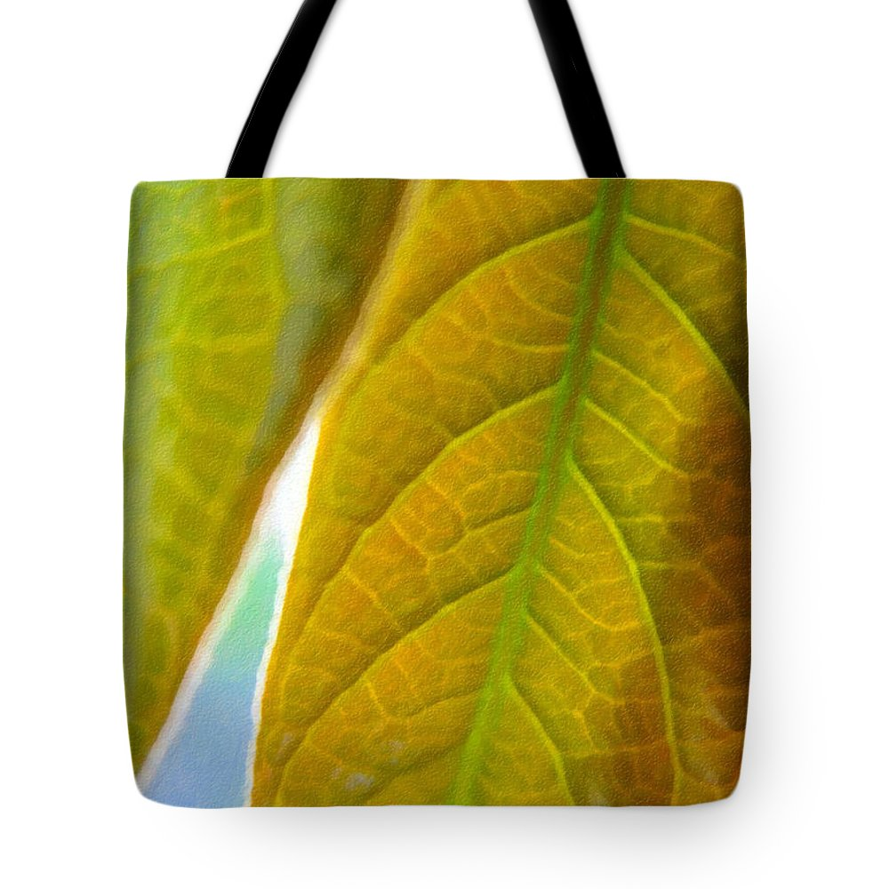 Leaves Tote Bag featuring the photograph Interesting Leaves - Digital Painting Effect by Rhonda Barrett