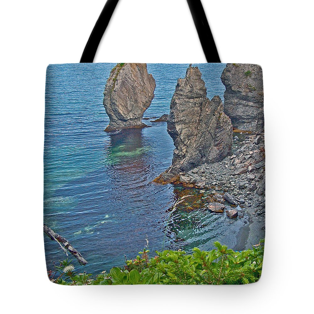 Interesting Rock Shapes In Trinity Bay Near Skerwink Trail Tote Bag featuring the photograph Interesting Rock Shapes In Trinity Bay Near Skerwink Trail-nl by Ruth Hager