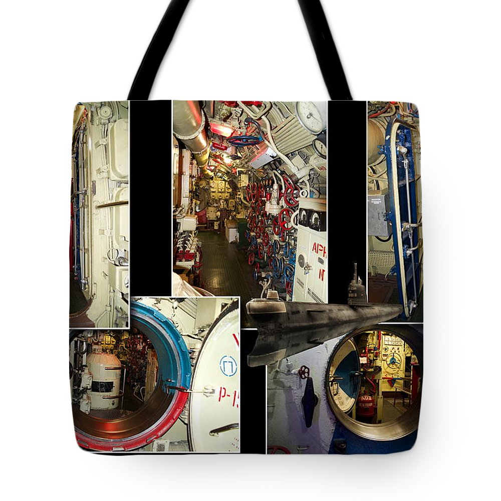 Submarine Tote Bag featuring the photograph Interior Hatches Collage Russian Submarine by Thomas Woolworth