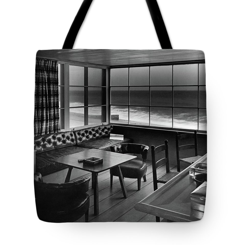 Interior Tote Bag featuring the photograph Interior Of Beach House Owned By Anatole Litvak by Fred R. Dapprich