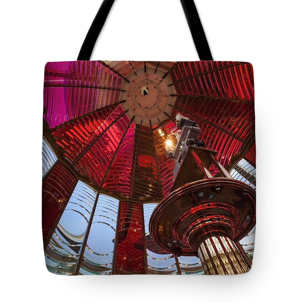 Tote Bag featuring the photograph Interior Of Fresnel Lens In Umpqua Lighthouse by Bryan Mullennix