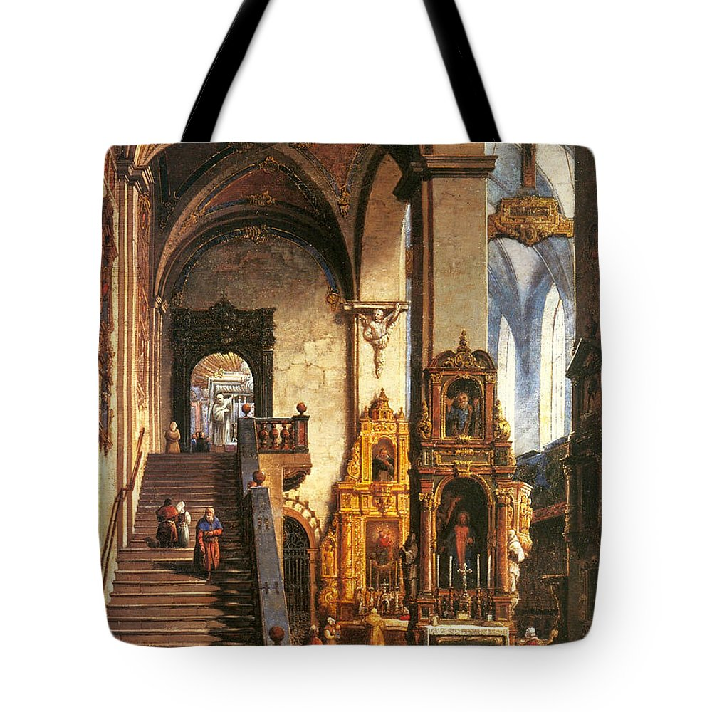 Marcin Zaleski Tote Bag featuring the painting Interior Of The Dominican Church In Krakow by Marcin Zaleski