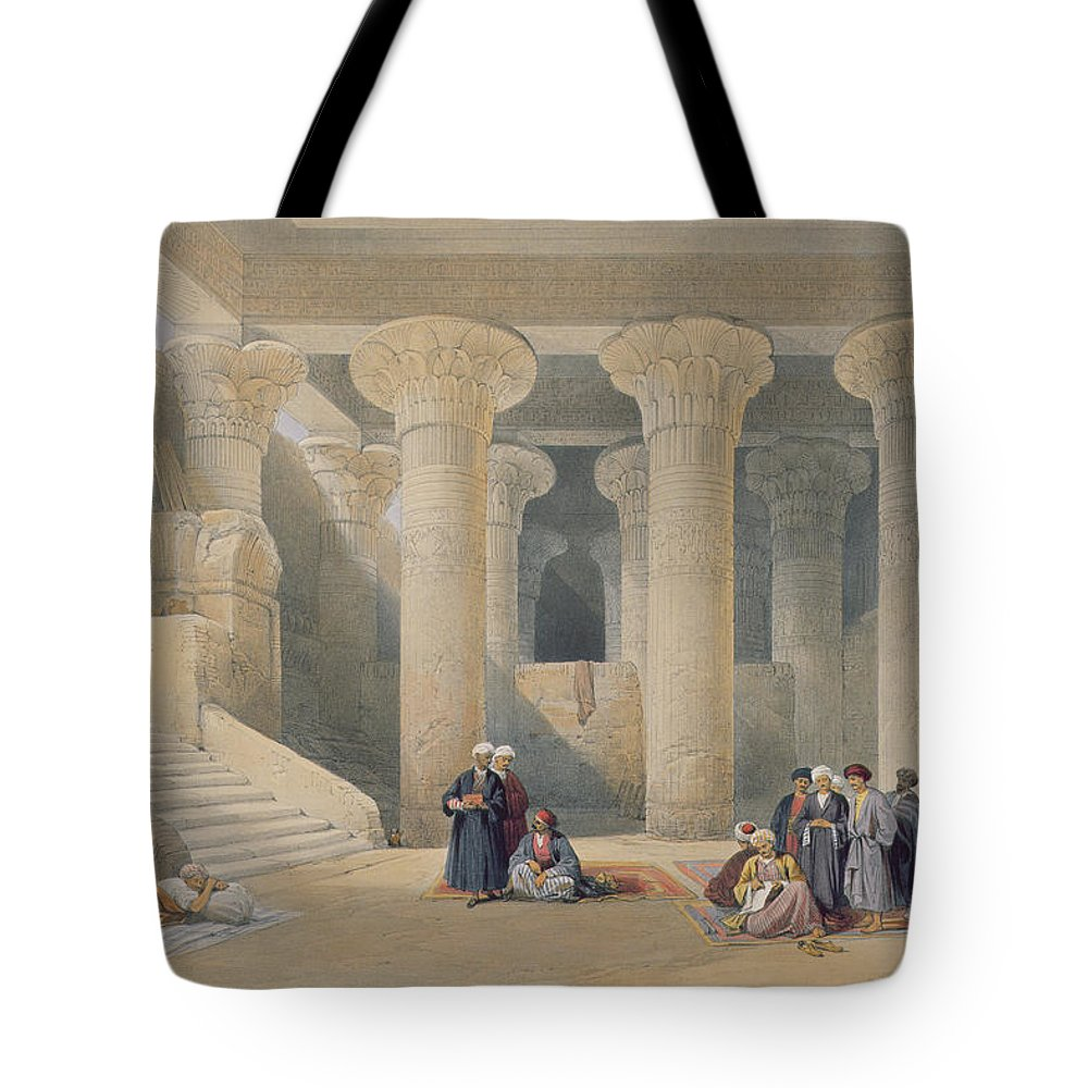 Ruins Tote Bag featuring the drawing Interior Of The Temple At Esna, Upper Egypt, From Egypt And Nubia, Engraved By Louis Haghe by David Roberts