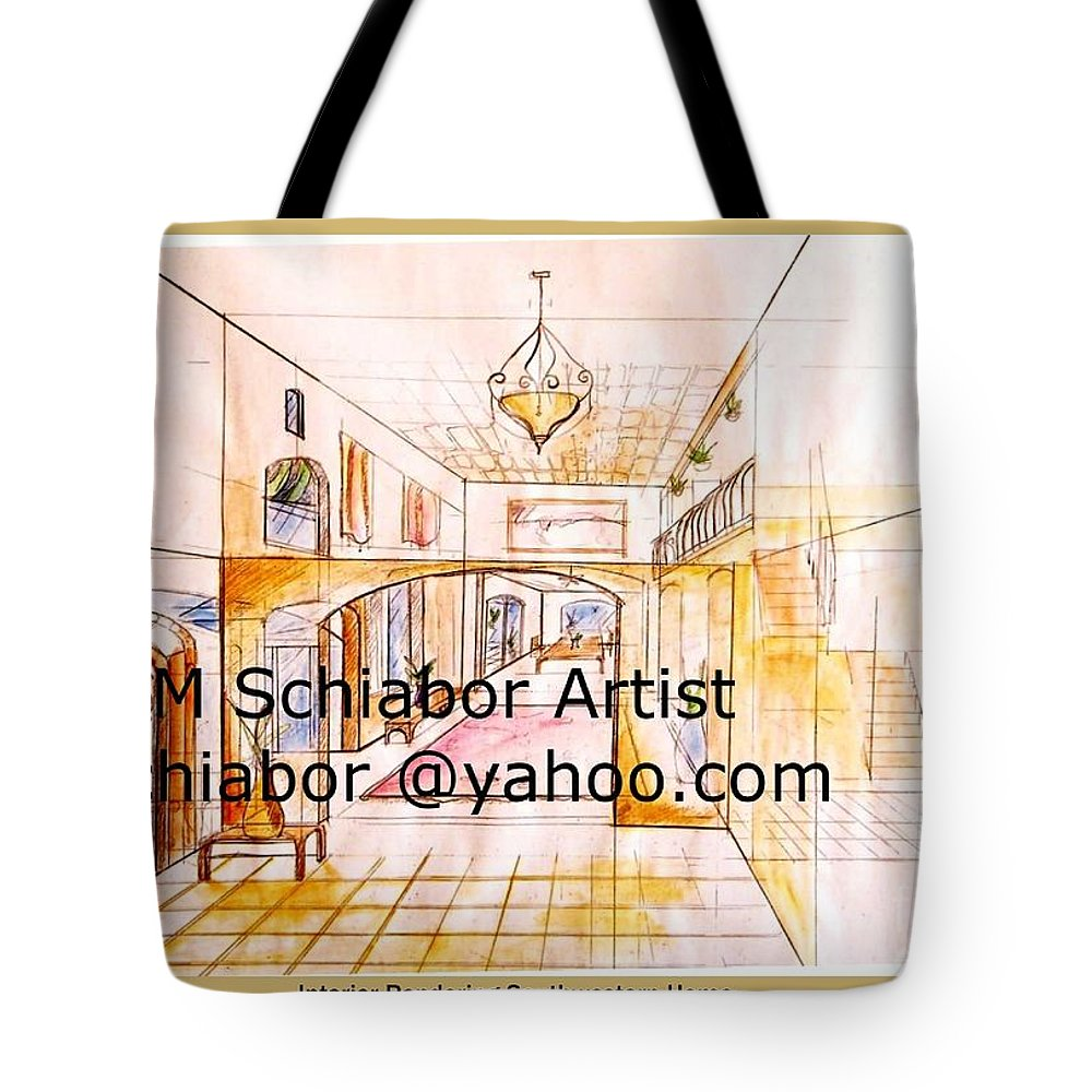Interior Tote Bag featuring the painting Interior Perspective by Eric Schiabor