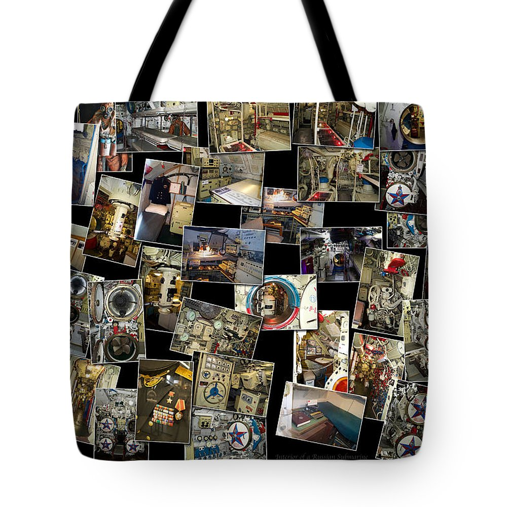 Submarine Tote Bag featuring the photograph Interior Russian Submarine Horz Collage by Thomas Woolworth
