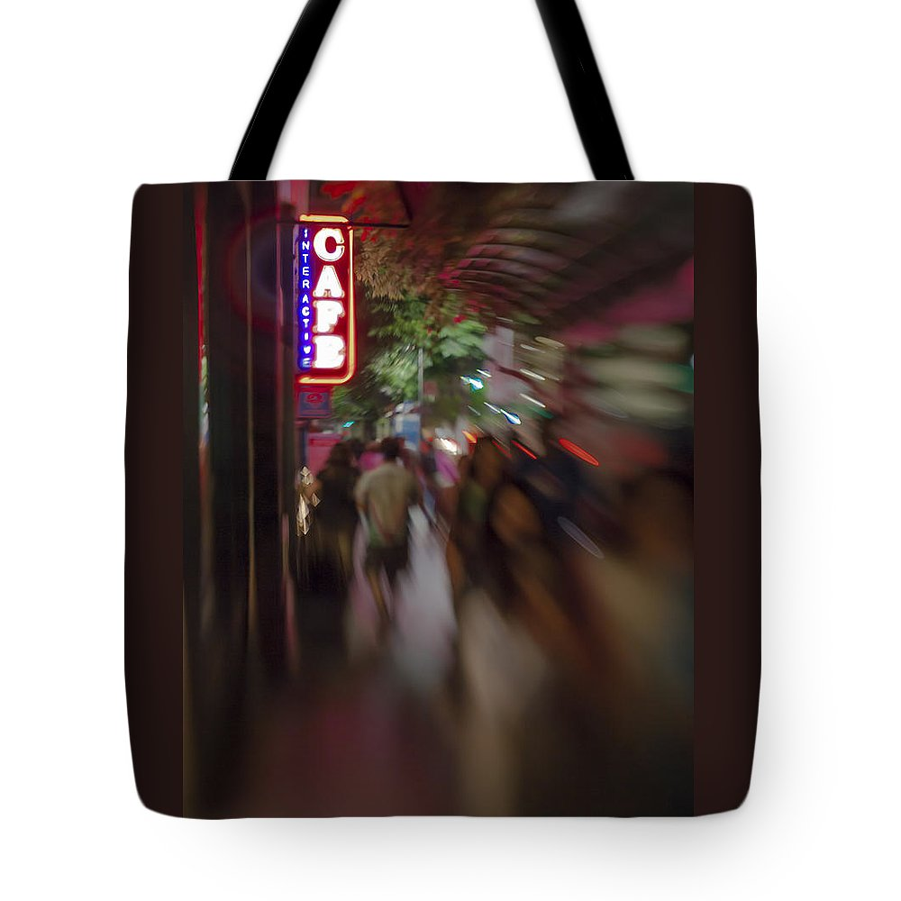 Award Winning Tote Bag featuring the photograph International Cafe Neon Sign And Street Scene At Night Santa Monica Ca Portrait by Scott Campbell