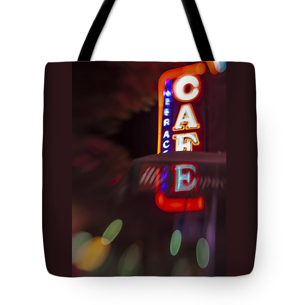 Award Winning Tote Bag featuring the photograph International Cafe Neon Sign At Night Santa Monica Ca by Scott Campbell