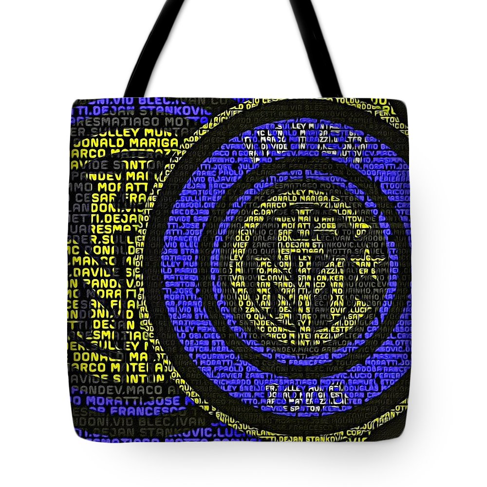 Inter Milan Tote Bag featuring the painting Internazionale Typography Poster by Florian Rodarte