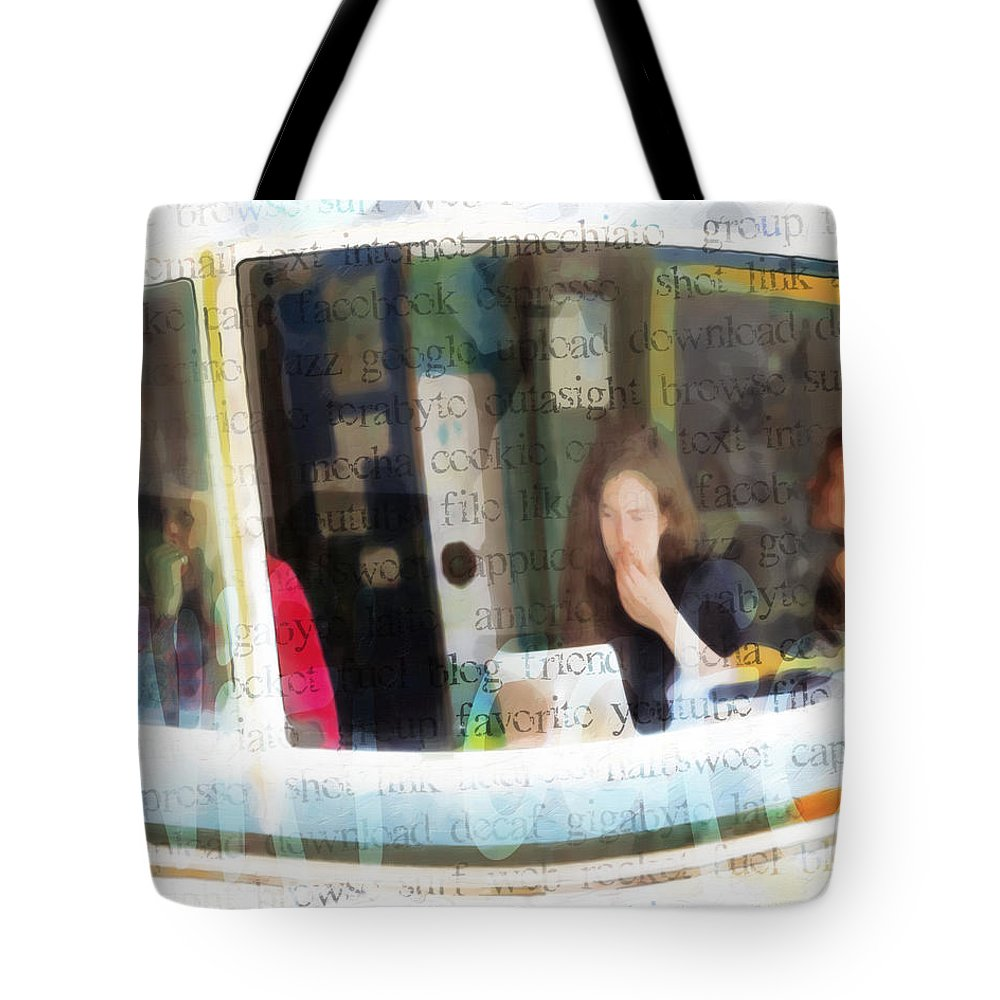 Abstract Tote Bag featuring the photograph Internet Cafe by Hal Halli
