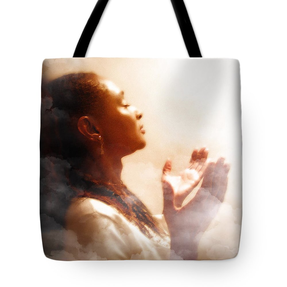 Into His Glory Tote Bag featuring the painting Into His Glory by Jennifer Page