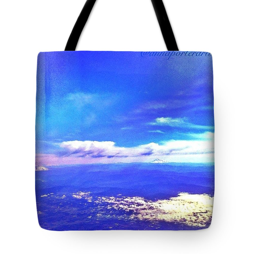 Rebel_sky Tote Bag featuring the photograph Into The Blue, Flying Above Portland by Anna Porter