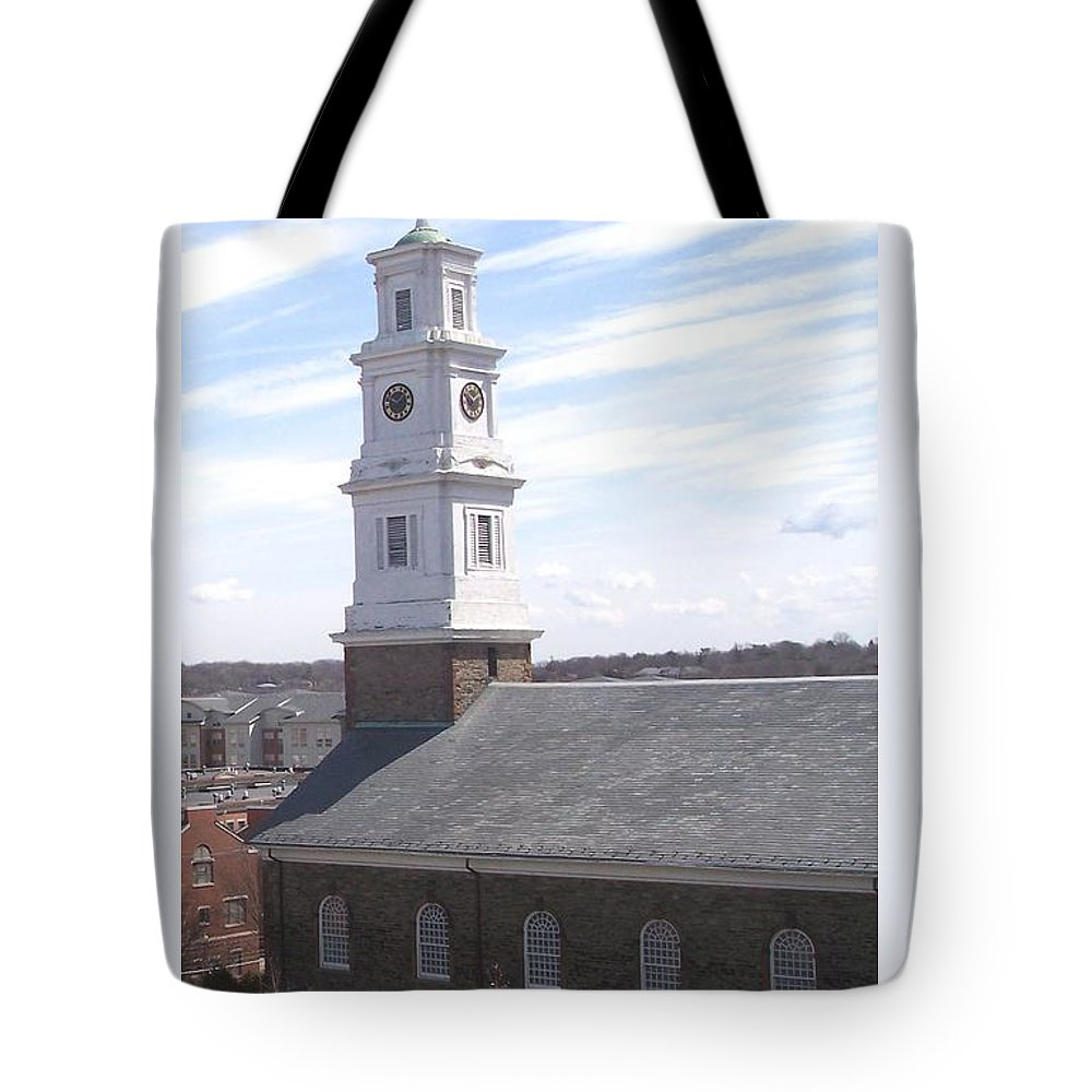 Architecture Tote Bag featuring the photograph Into The Blue by Pharris Art