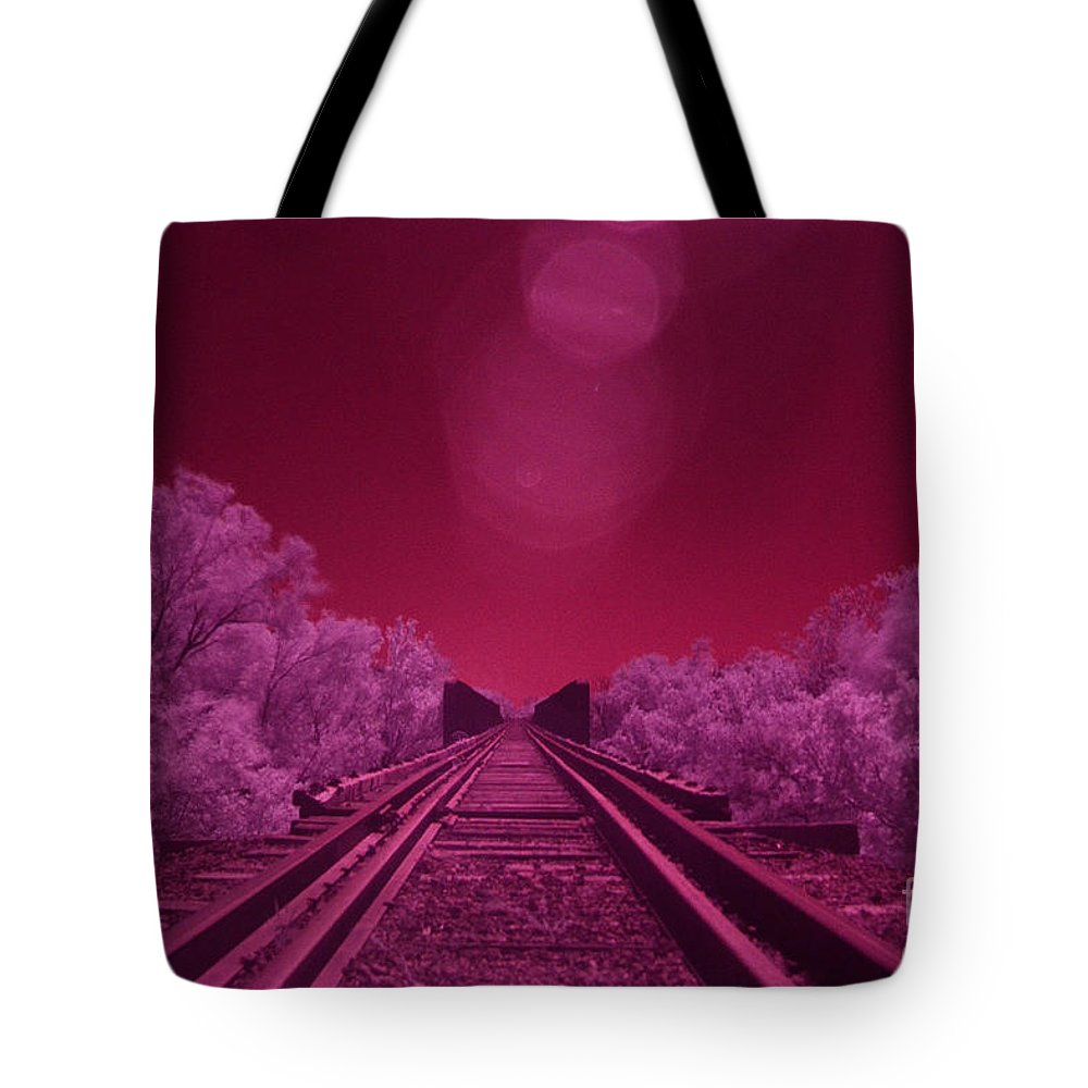 Railroad Tote Bag featuring the photograph Into The Darkness Of Light by Derry Murphy