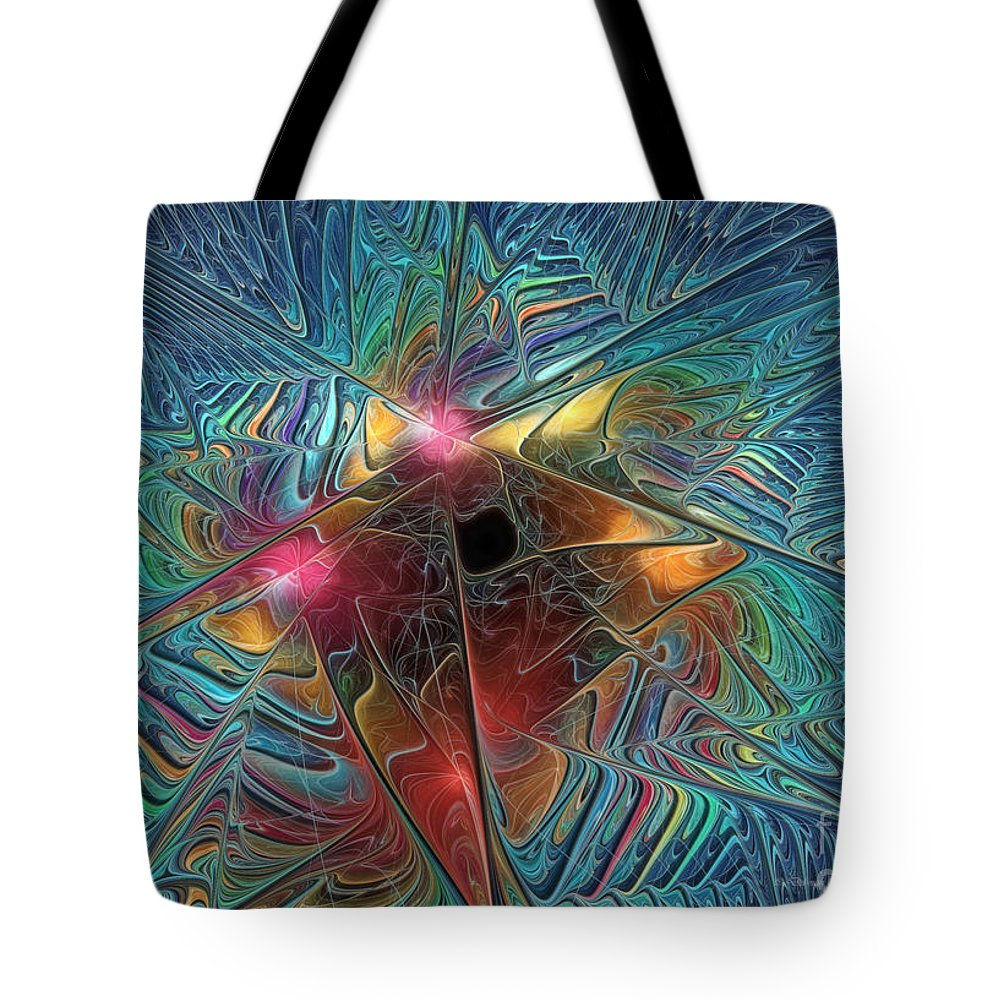 Fractal Tote Bag featuring the digital art Into The Galaxy by Deborah Benoit