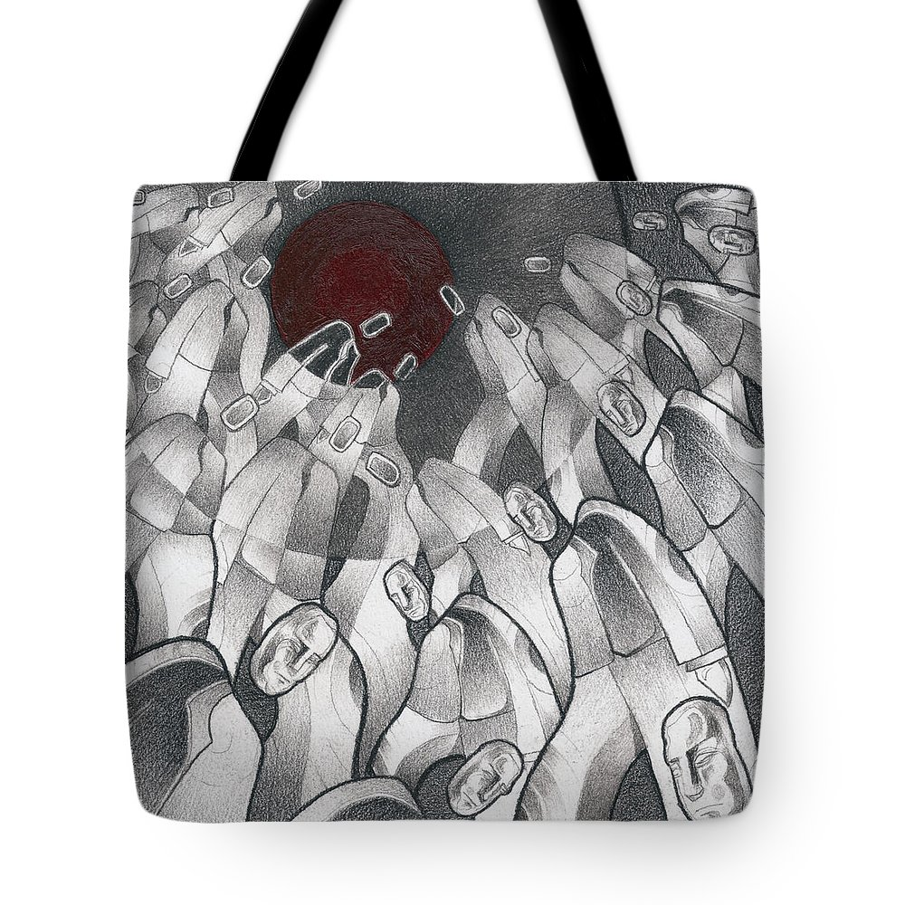 Mouseizm Tote Bag featuring the drawing Into The Portal by Myron Belfast