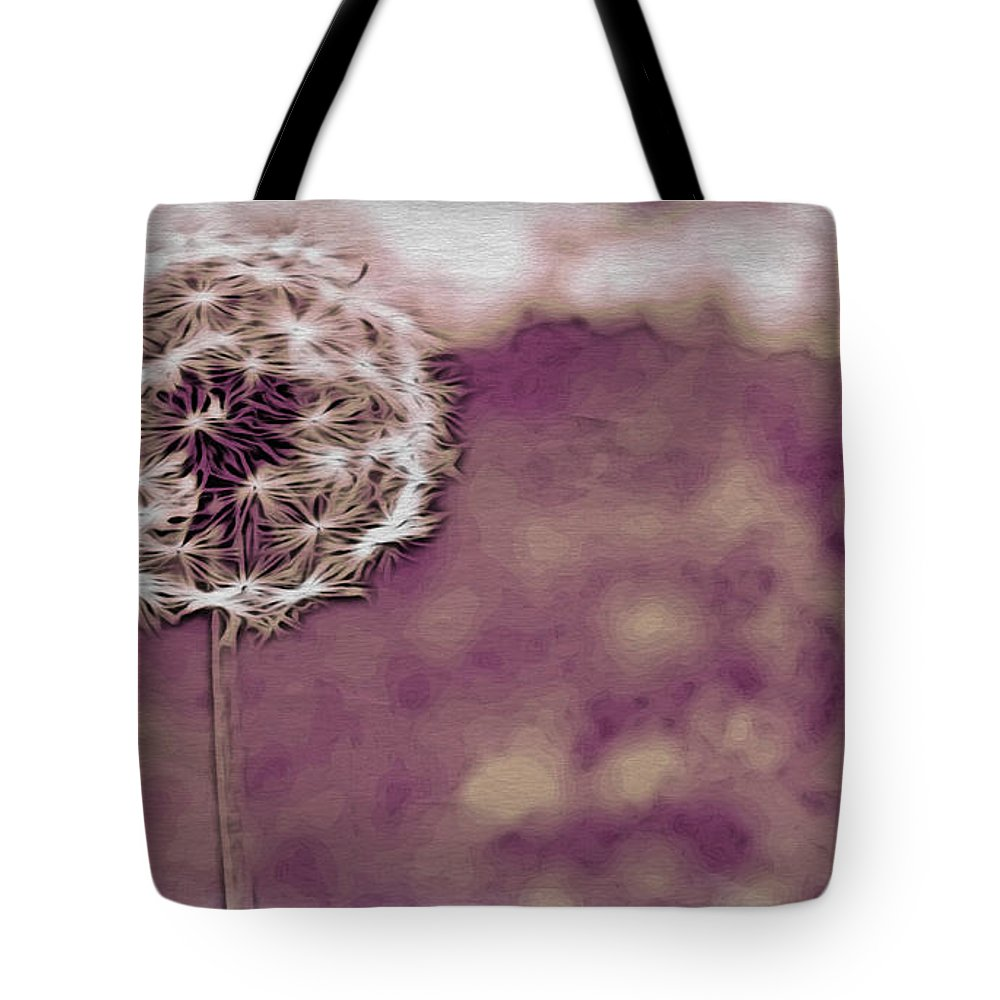 Dandelion Tote Bag featuring the photograph Into The Wind by Alice Gipson