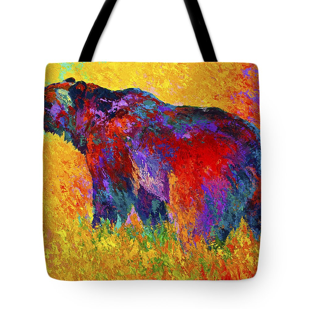 Bear Tote Bag featuring the painting Into The Wind by Marion Rose