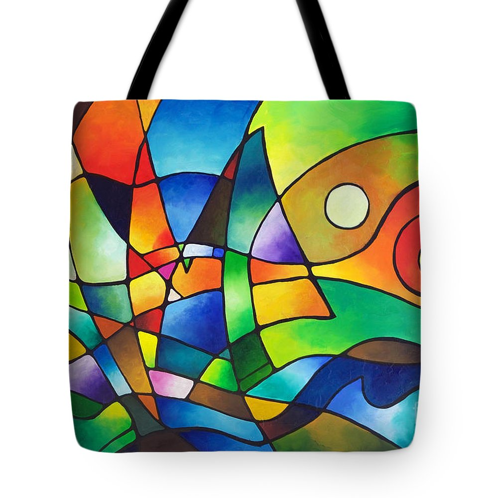 Sally Trace Tote Bag featuring the painting Into The Wind by Sally Trace