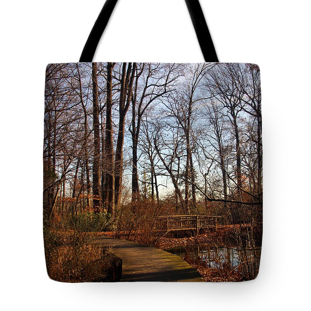 National Arboretum Tote Bag featuring the photograph Into The Woods by Carolyn Stagger Cokley