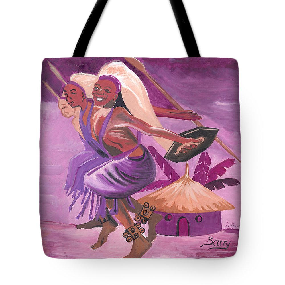 Barry Art Tote Bag featuring the painting Intore Dance From Rwanda by Emmanuel Baliyanga