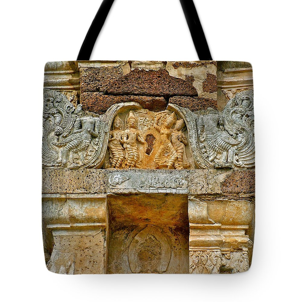 Intricate Carving At Wat Mahathat In 13th Century Sukhothai Historical Park Tote Bag featuring the photograph Intricate Carving At Wat Mahathat In 13th Century Sukhothai Hist by Ruth Hager