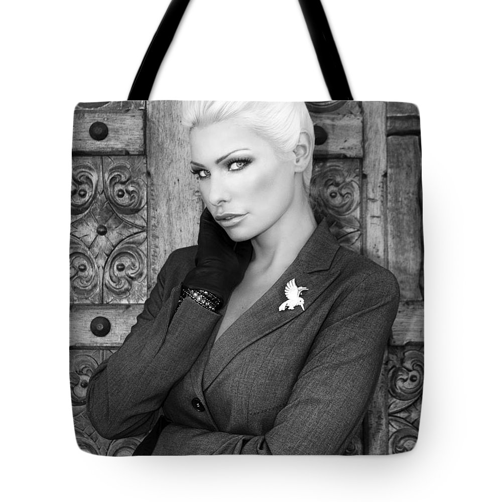 Blonde Tote Bag featuring the photograph Intrigue Bw Fashion by William Dey